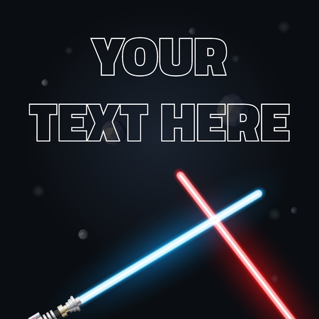 your text: Your text here cover.  Illustration of light swords, Neon for design,