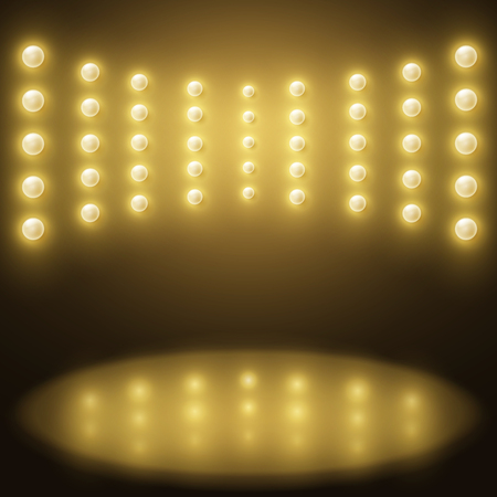 stage yellow lights. Abstract sparkling background