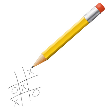 tack: tick-tack-toe game with pencil isolated, vector illustration Illustration