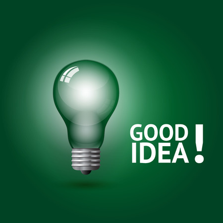 idea: Good idea symbol, vector illustration on greem background