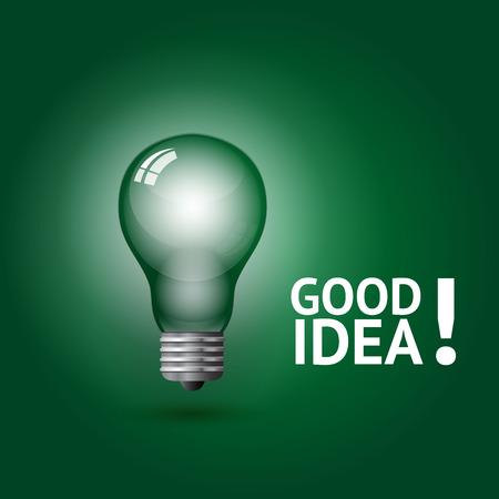 lightbulb idea: Good idea symbol, vector illustration on greem background