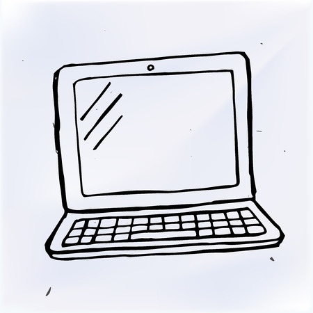 computer: hand draw doodle laptop. Computer vector illustration computer Illustration