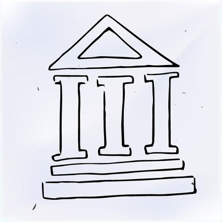 columnas romanas: Los tres pilares del edificio. ilustración del Doodle