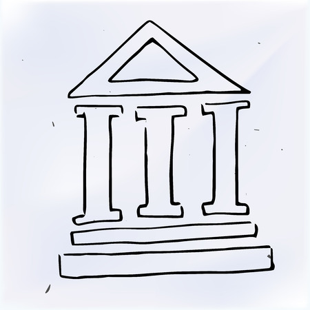 greek currency: The three pillars of the building. Doodle illustration