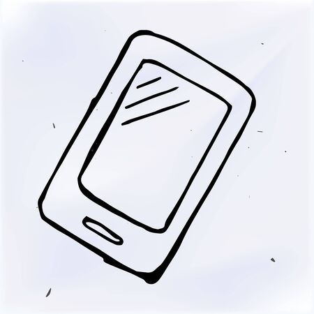 touchscreen: Vector doodle phone with touchscreen display, hand drawn