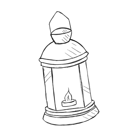 kerosene: Vector hand drawn kerosene lamp, doodle style