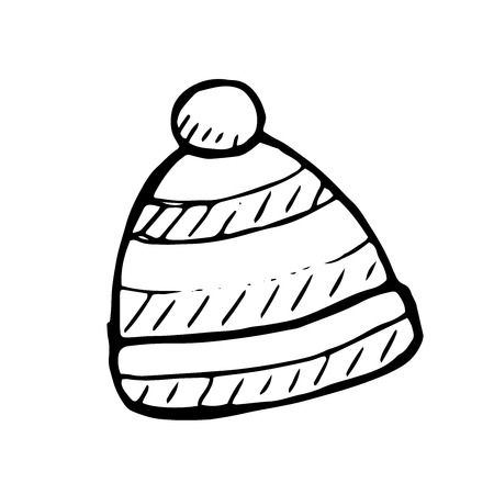 winter clothing: Vector winter hat doodle illustration, isolated object