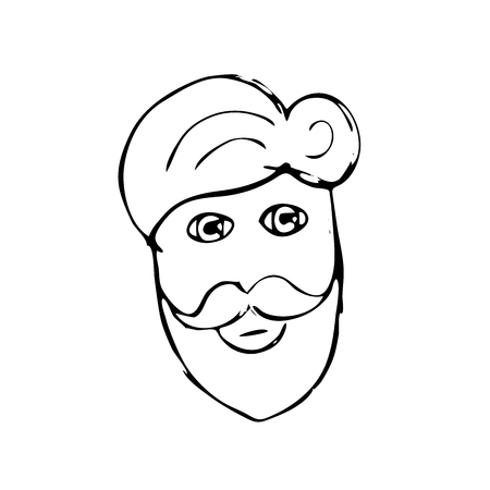 illsutration: Vector hand drawn mustache beard and hair style. Doodle illsutration