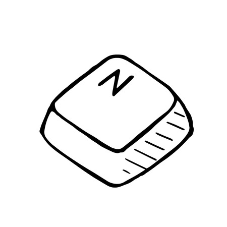 intermediate: Vector doodle button N. Hand drawn isolated illustration Illustration