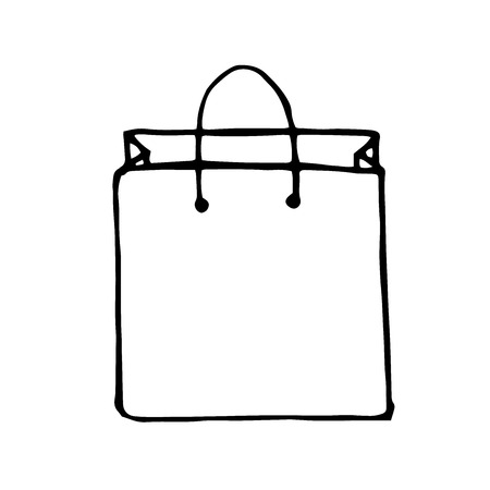 transact: Vector doodle style shopping bag, hand drawn