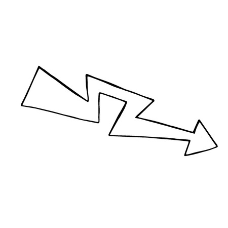 doodle arrow, vector design element, isolated sign