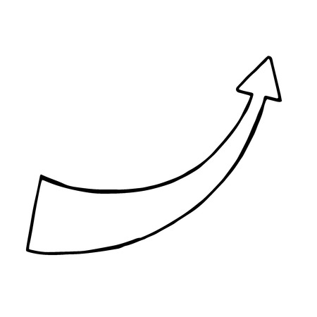 Hand drawn arrow, vector doodle objec. isolated sign