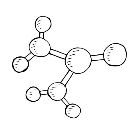 vector  molecular: Vector molecular doodle, hand drawn illustration. isolated Illustration