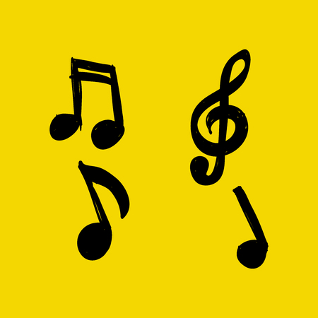 business symbols metaphors: Vector Set of Hand-drawn music notes on yellow background. doodle illustration