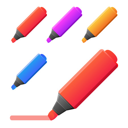 markers: Vector markers illustration. set of markers with red line