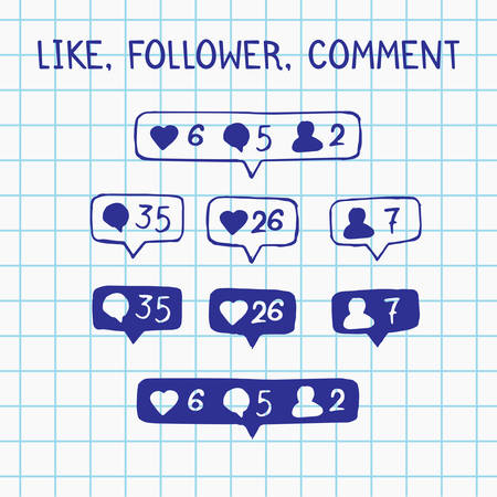 follower: Like, follower, comment icons on notebook sheet. vector doodle illustration