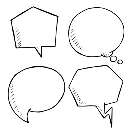 comix: Chat and think doodle bubbles vector. hand drawn speech bubble Illustration