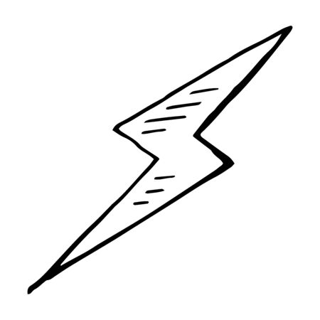 bolt: Simple hand drawn, doodle of a lightning bolt