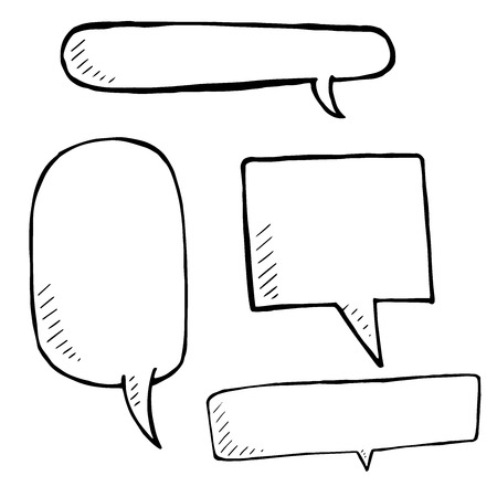 comix: Hand drawn speech bubble skech set on white background, Vector doodle Illustration