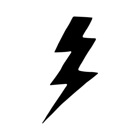 Simple hand drawn doodle of a lightning bolt. isolated doodle illustration