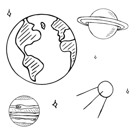 space flight: Set of space doodles isolated on white background. space flight doodles, hand drawn planets, satellite and stars