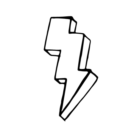 quick drawing: Lightning doodle icon. stock hand drawn vector illustration