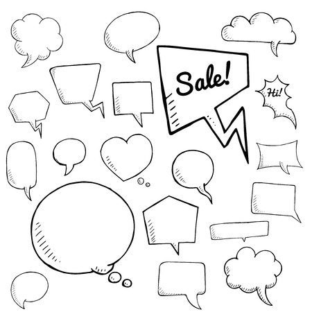 comix: vector set of speech bubbles. group of doodle speech bubble on white background