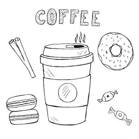 sweetmeats: Set of doodle food and drink icons. vector hand drawn coffee, macaron, sweetmeats, cinnamon with text