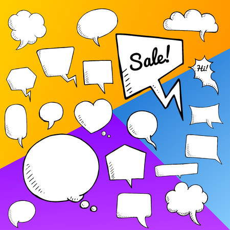 buble: Vector set of speech bubbles. group of doodle speech buble on colorful background Illustration