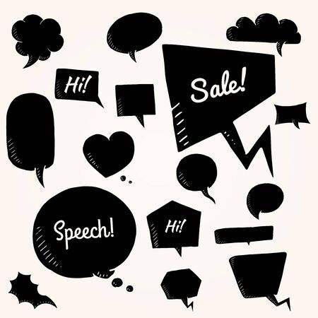 comix: Black vector set of talk and think bubbles. group of doodle speech bubles