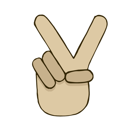 victorious: Vector sketch of hand with victory sign. realistic doodle element Illustration
