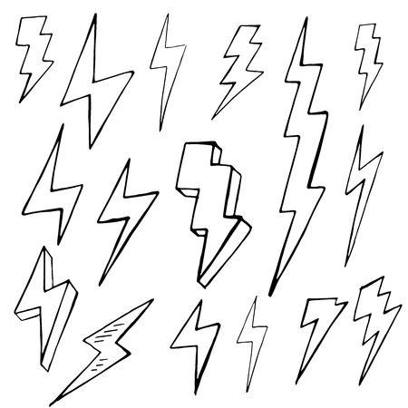quick drawing: Set of doodle simple lightning. group of hand drawn objects Illustration