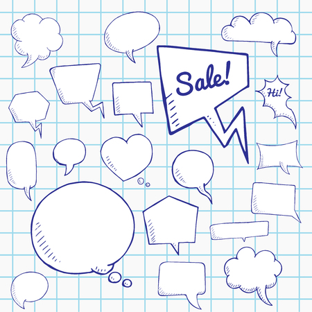 dialog baloon: Vector set of talk and think bubbles on notebook sheet. group of doodle speech bubles