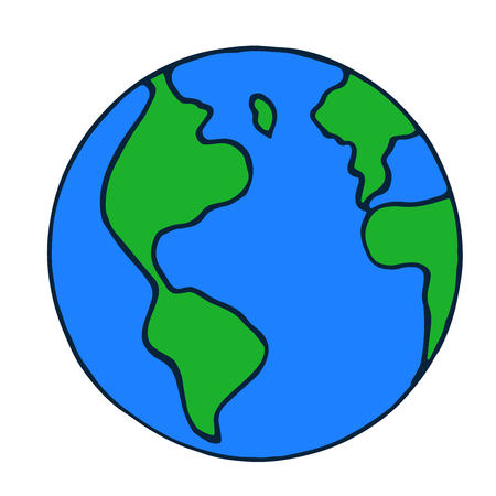 Vector doodle globe icon. hand drawn earth isolated
