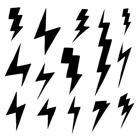 group of objects: Set of simple lightning doodle. group of hand drawn objects