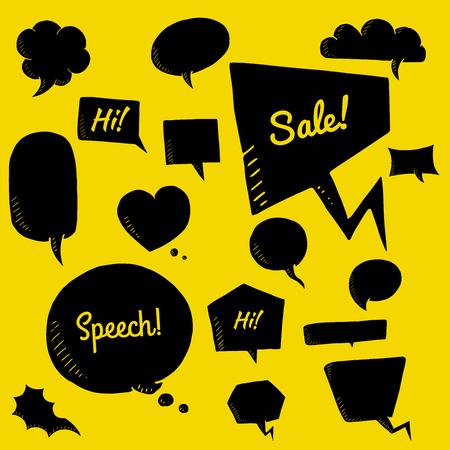 speech buble: Vector set of black speech bubbles. group of doodle speech buble