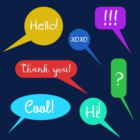 Vector conjunto de globos de texto, grupo de buble doodle de discurso