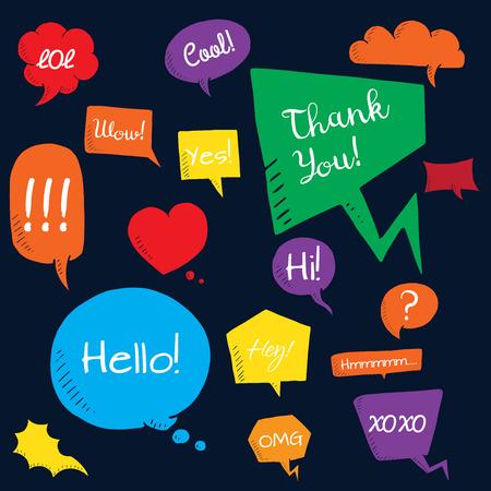 dialog baloon: Vector set of speech bubbles. group of doodle speech buble