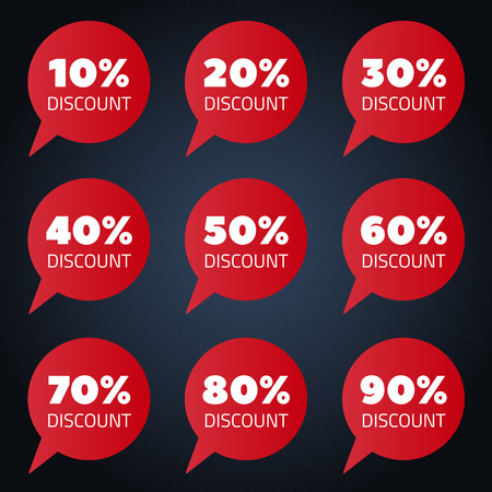 cheaper: Set of red percent discount speech bubble. sale vector illustration on black vackground