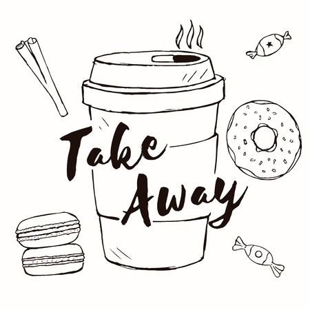 sweetmeats: Set of doodle food and drink icons. vector hand drawn coffee, macaron, sweetmeats, cinnamon with text Take Away