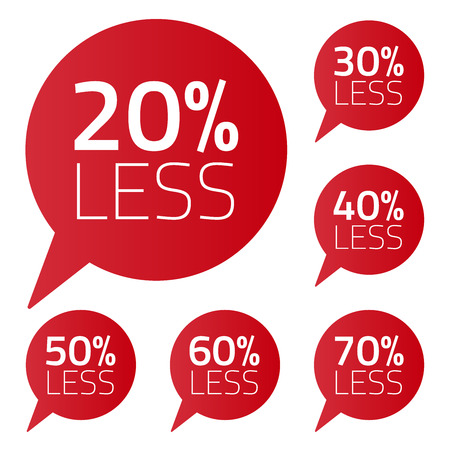 less: Vector set of percent less speech bubble. ale business illustration on white background