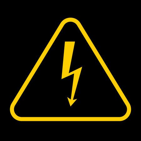 Vector danger sign with frame.high voltage yellow symbolon black background Illustration
