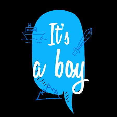 black baby boy: Baby shower boy inscription with doodle elements on black background.blue speech bubble vector illustration