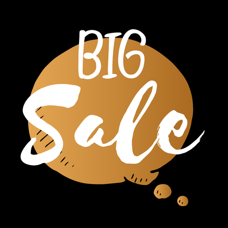 cheaper: Vector speech bubble of big sale, gold isolated element on black background for business and design