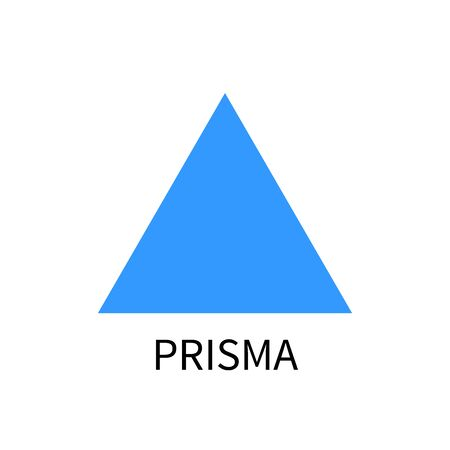 prism: Blue prism template. prisma vector sign on white background with text