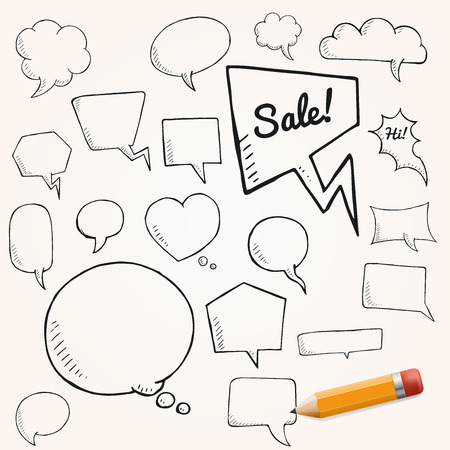 bubles: Vector set of talk and think bubbles with yellow pencil. group of oodle speech bubles on white background Illustration