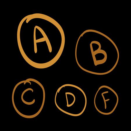 grades: Doodle vector grades, set of gold hand drawn letters. gold hand drawn illustration on black background Illustration