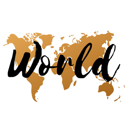 Vector gold world map on white background, doodle. World map vector. World Gold map design. World map art. World map illustration. World map sign. World map flat. World map picture. World text. Illustration