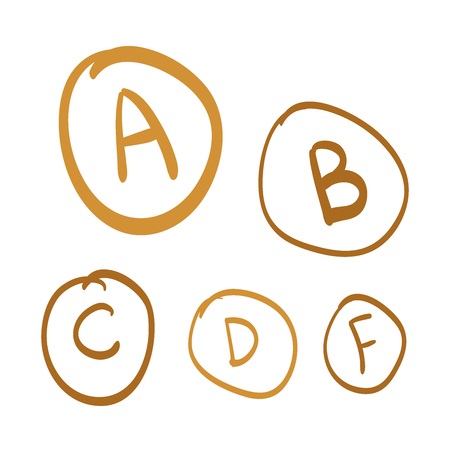 grades: Hand drawn vector grades, set of gold hand drawn letters. gold doodle illustration