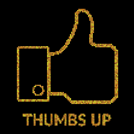 sumbol: Vector gold illustration of Thumb Up icon. sumbol on black background for design